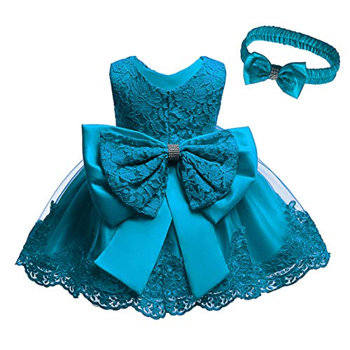 Baby Flower Girls Floral Embroidered Christening Baptism Formal Ball Gown Dress with Headwear(Teal 6M)