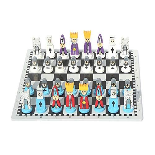 William 337 Schach Schach, Karikaturschach, Holz, Kinderschach, europäisches und amerikanisches Holzpuzzle-Schach, Spielzeug für Studenten und Anfänger Spielzeug (Color : Blue)