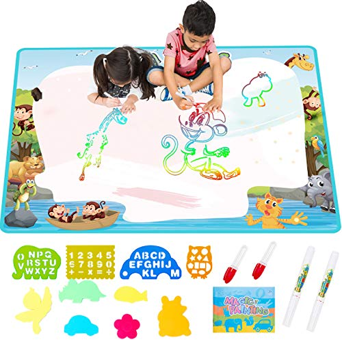 FREE TO FLY Extra Large Aqua Water Drawing MagicMat 2019 Updated Color Painting Doodle Board Doodle Magic Mat with No Mess, Educational Kid Toys Gift for Boys and Girls Age 3 4 5 6 7