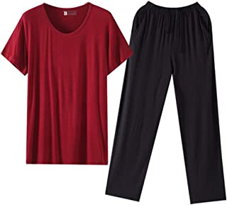 Mens Pyjama Set Pyjamas Men Summer Loungewear Short Sleeve Top + Trousers Sleepwear Nightwear