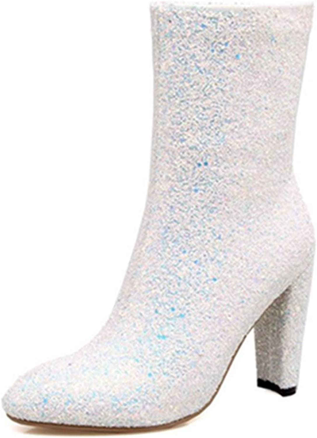 Smilice Women Bling Materail Dressy Mid-Calf Boots