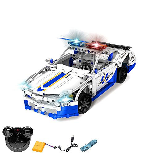 HSP Himoto 2.4GHz RC ferngesteuertes Klemmbausteine Polizei-Auto aus Bausteinen mit Fernbedienung, Steckbausatz Konstruktion DIY , Komplett-Set Inkl. Akku und Ladegerät