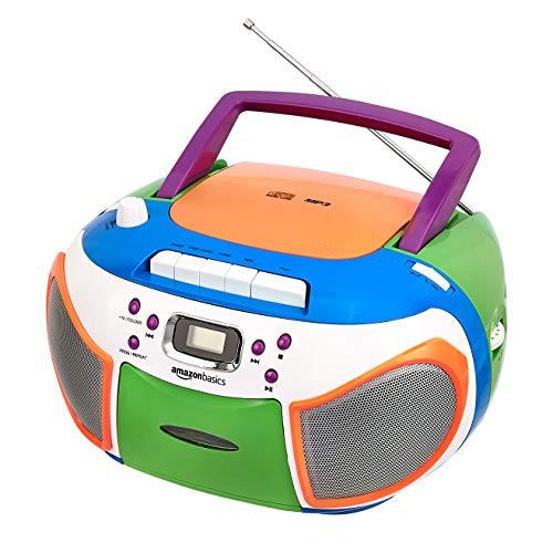 Amazon Basics tragbarer Stereo-Radiorekorder mit CD-Player, FM-Radio, Kassettenrekorder, Kopfhöreranschluss, LCD-Bildschirm und 3,5-mm-AUX-Eingang, mehrfarbig