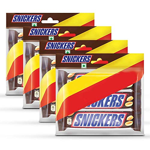 Snickers Chocolate Bar, 3 Pieces, 150g (Pack of 4)
