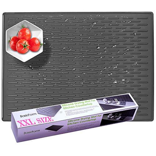 BasicForm XXL Silikon-Trockenmatte für Küchen-Arbeitsplatte 56.5x43.2x0.35cm (Schwarz),MEHRWEG