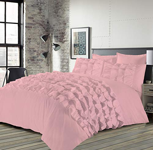 Voice 7 Priscilla 3pc Frilled Super-King Duvet Cover + Two Pillow Cases - Pleated PinTuck Classical Quilt Covers Bedding Set UK Sizes (Pink, Super King)