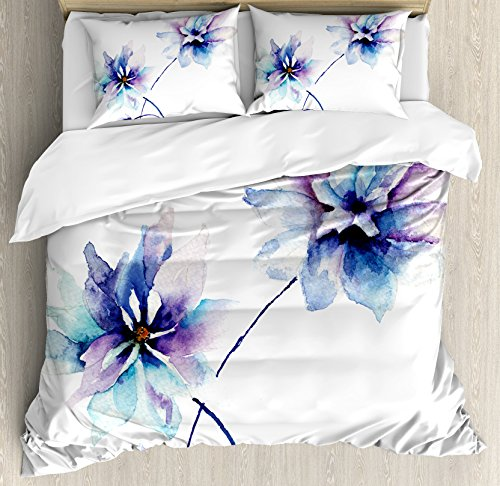 Ambesonne Watercolor Flower Duvet Cover Set, Flower Drawing with Soft Spring Colors Retro Style Floral Artwork, Decorative 3 Piece Bedding Set with 2 Pillow Shams, Queen Size, White Purple