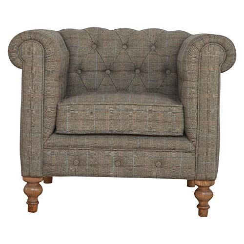 Merchantlabs - Sillón Chesterfield hecho a mano de tweed individual