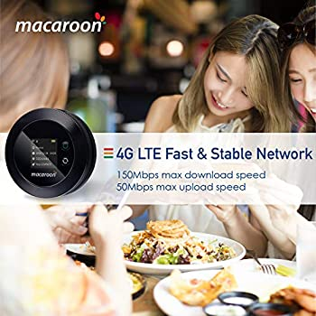 macaroon Mobile WiFi Router 4G Unlocked Portable Mobile Wifi Hotspot with 5GB EU Data Pocket Travel MiFi Device for Businessmen Go Abroad