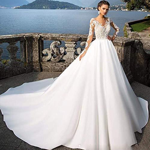 Vestido novia manga larga transparente con encaje