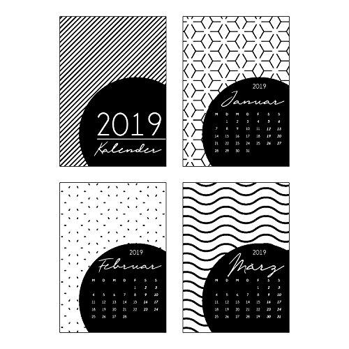 12er Set Postkarten-Kalender Black & White 2019 I dv_323 I DIN A6 I Kalender-Karten mit Muster Neutral I Monatskalender zum Dekorieren