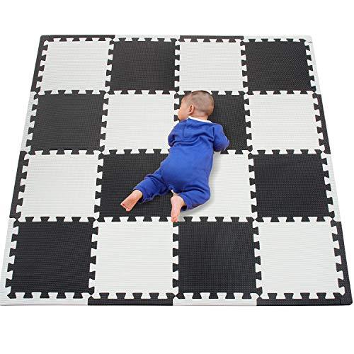 qqpp Tapis de Puzzles - Tapis de Sol Enfant et Bébé en Mousse - 16 Dalles Colorées à Imbriquer 30 x 30 cm - Idéal pour l'Éveil de l'enfant QQCDW101104ZZ301016