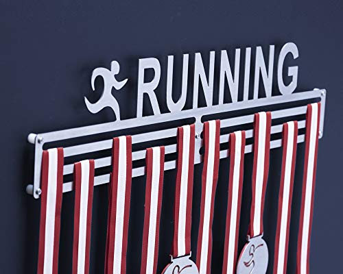 Qthrone Porta medaglie Corsa Rack - Medagliere Parete Running Inox Spazzolato - Runner Medal Display Holder 450 mm