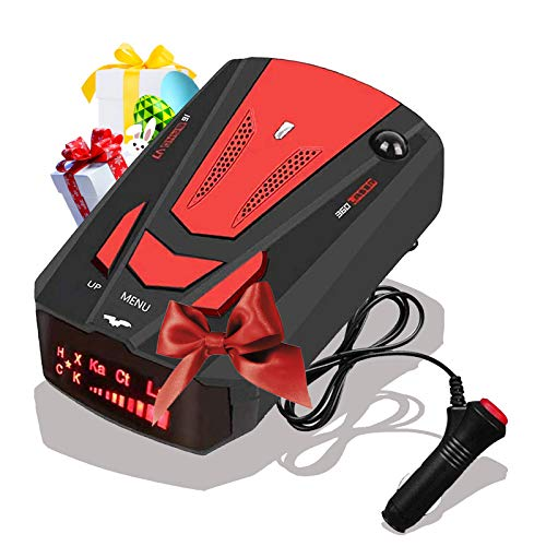 [2021 Newest] Radar-Detector-for-Cars,Laser Radar Detector Voice Prompt Speed,Vehicle Speed Alarm System,LED Display,City/Highway Mode,Auto 360 Degree Detection for Cars (Red)