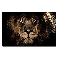 野生動物ライオンキャンバスプリント、オリジナルデザイン抽象写真動物写真ポスター印刷プレミアム黒キャンバスホームオフィスホテル壁アートアートワークフレームレス,Eye,50×75cm