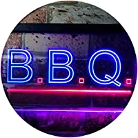 B.B.Q. Barbecue Display Illuminated Dual Color LED看板 ネオンプレート サイン 標識 赤色 + 青色 600 x 400mm st6s64-i0566-rb