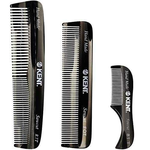 Kent Set Men's Hair Pocket Combs, Graphite 81T X-Small, FOT All Fine Tooth, R7t Double Toothed Fine and Coarse. Best Hair, Beard and Mustache Grooming Kit for Travel and Home Care, Handmade in England