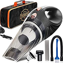 Portable hand-held car vacuum with accessories.