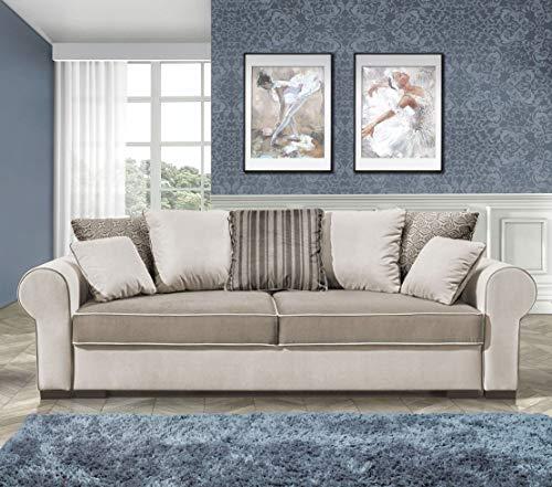 Cojín moderno para sofá cama de lujo, patas cromadas, cualquier color de piel sintética y tela básica.