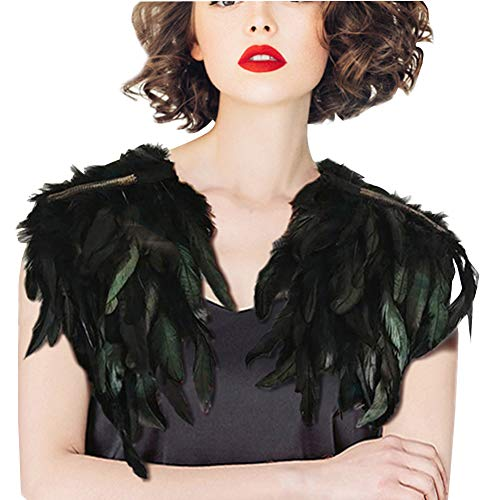 SwirlColor Chal Plumas Collar de Costura de Plumas Pavo Real negro Mantones Vestido de Noche Con Flecos Vestido de Cóctel Lindo Para la Fiesta de Noche (Tipo 2)