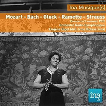 W. A. Mozart - J. S. Bach - W. Gluck - Y. Ramette - R. Strauss, Orchestre Radio Symphonique de Paris, Concert du 02/11/1952, Eugène Bigot (dir), Irma Kolassi (sol)