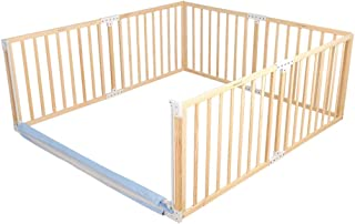 QWEASD Baby Playpen Wood Rectangular Fence with Vertical Lifting Net Fence Child Safety Amusement Park Outdoor Garden Living Room Interior (Size : 120x150cm)