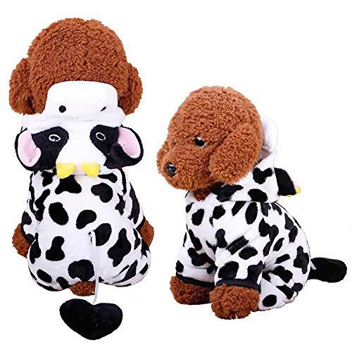 Miwaimao La nueva ropa para mascotas terciopelo coral Dongkuan Yiwu de cuatro patas de dibujos animados para perro ropa de perro girada instalada, vacas instaladas B03202,M