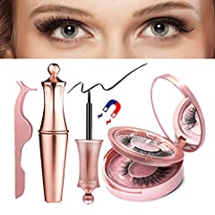 """【FLAWLESS MAGNETIC EYELASHES & EYELINER KIT】: """"Qualitish"""" upgraded Premium quality Magnetic Lashes NO GLUE NEEDED. 3D Natural looking False Eyelashes with liner. Each kit comes with Mirror, Applicator, Magnetic Eyeliner and 2 pair Different style Mag..."""