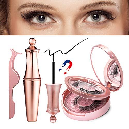 Magnetic Eyelashes with Eyeliner, Magnetic Lashes Reusable and Easy to Apply, Magnetic Eyeliner and Lashes Pack, Natural Look Liquid Eyeliner False Eyelashes. Two Style Eye Lashes with Tweezers.