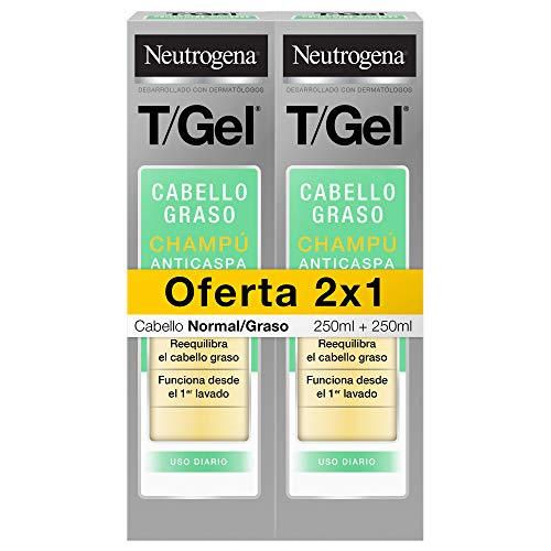 Neutrogena Champú T/Gel Cuidado del Cabello Normal Graso, 2 x 250 ml