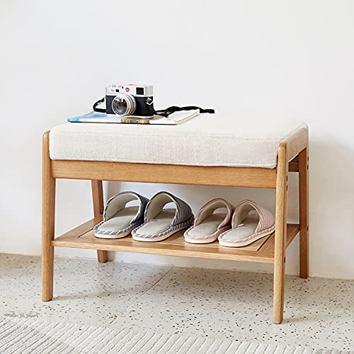 XIAOQIAO Banco de Zapatos de Madera con Cojín Suave y Duradero Estante para Taburete de Zapatos para Armario, Pasillo, Entrada, 60 x 40 x 43,5 cm