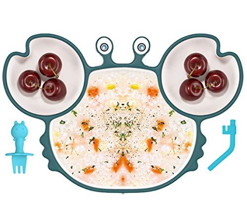 Kaiyingxin Assiette à Ventouse pour Bébé Silicone + 1 Bambini Forchette In Silicone, plaque d'alimentation antidérapante pour tout-petits, Solide Antidérapante Set de Table avec 3 compartiments (Blu)