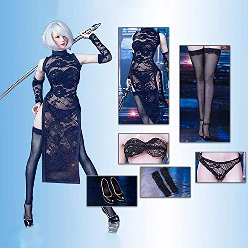 ZSMD 1/6 Scale Female Body Seamless Lace Cheongsam Suit for HT, VERYCOOL, TTL, Hottoy, Play, Phicen Action Figure Body,Black