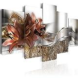 murando - Cuadro en Lienzo Flores Lirios 200x100 cm Impresión de 5 Piezas Material Tejido no Tejido Impresión Artística Imagen Gráfica Decoracion de Pared Naturaleza Abstracto b-A-0273-b-n
