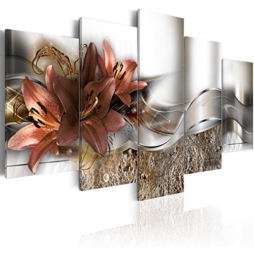 murando Cuadro en Lienzo Flores Lirios 200x100 cm Impresión de 5 Piezas Material Tejido no Tejido Impresión Artística Imagen Gráfica Decoracion de Pared Naturaleza Abstracto b-A-0273-b-n