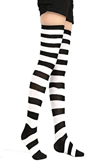 Halloween Costume Black and White Striped Socks Over Knee High Opaque Stockings Christmas Socks