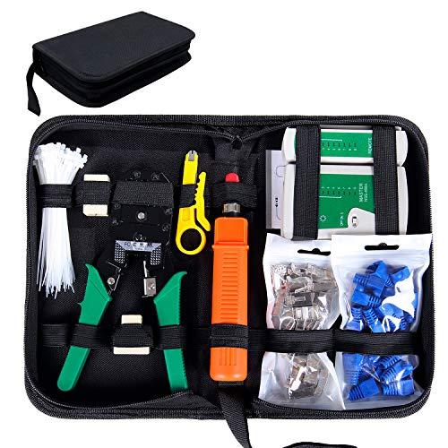 SGILE 9 in 1 Netzwerk Werkzeug Set Reparaturwerkzeuge, Netzwerk Kabeltester Kit, Patchkabel Tester, Computer Wartung, LAN Kabel Tester
