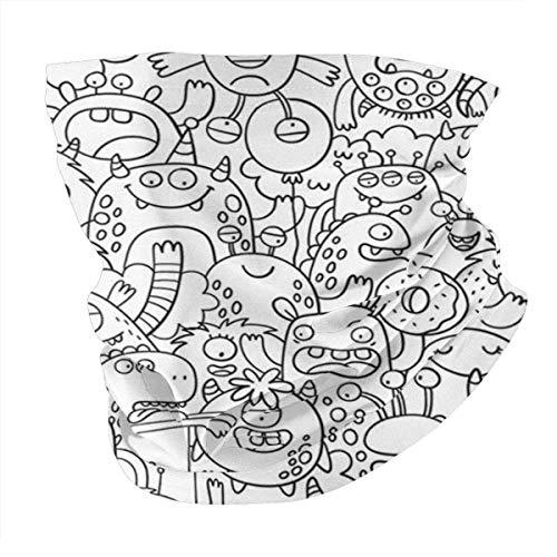 Balaclava Fun Big Coloring Poster Doodle Style Animal Wildlife Abstract Windproof SeamlFace Scarf Bandana for Riding Cycling Yoga Fishing Outdoor Headwear