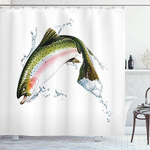 ASDAH vis douchegordijn zalm springen uit water maken Splashes Cartoon ontwerp fotorealistische Airbrush doek stof badkamer Decor Set met haken wit groen 66 * 72in