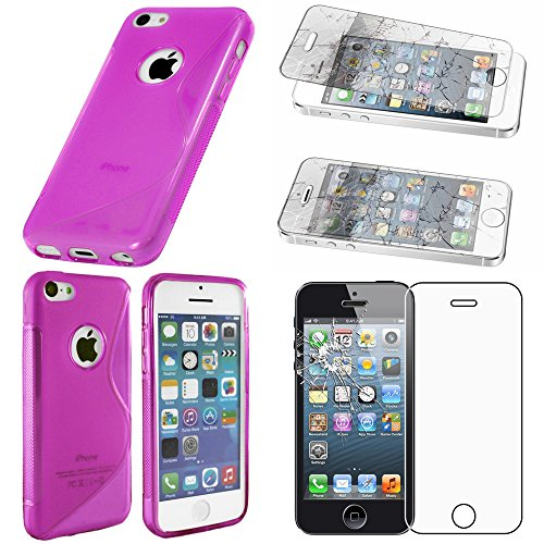 ebestStar - Funda Compatible con iPhone SE 5S 5 Carcasa Gel Silicona Gel TPU Motivo S-línea, S-Line Case Cover, Violeta + Cristal Templado Protector Pantalla [Aparato: 123.8 x 58.6 x 7.6mm, 4.0'']
