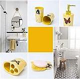 ZPWSNH - Juego de accesorios de baño de resina, 5 piezas, soporte para cepillo de dientes, jabonera, dispensador de jabón, taza, juego de accesorios de baño amarillo