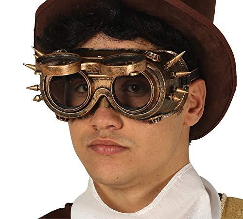 Fiestas Guirca Bronze Steampunk Brille mit Spikes für die Verkleidung im viktorianischen Gothic Stil