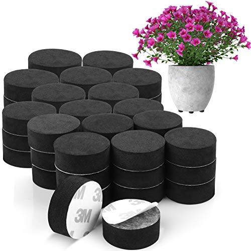 BELLE VOUS Invisible Plant Pot Feet (50 Pack) - Invisible Black Flower Pot Risers - Non-Slip with Strong Self Adhesive Pads for Medium and Large Sized Pots - Lifter Pads for Indoor and Outdoor Plants