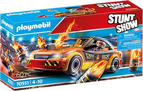 Playmobil - Stuntshow - Voiture Crash Test avec 1 Personnage Cascadeur et 1 Mannequin - Accessoires Inclus