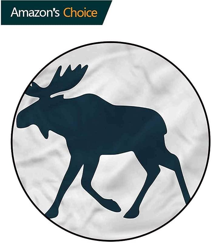 RUGSMAT Moose Modern Machine Washable Round Bath Mat Wild Canadian Deer Pattern Floor Mat Home Decor Diameter 59
