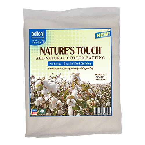 "Pellon N-72 Nature's Touch 100% Natural Cotton Batting, No Scrim - Twin 72"" X 96"""