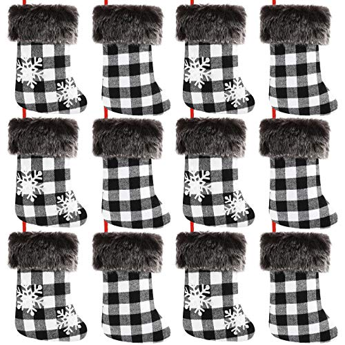 Aneco 12 Pack Christmas Mini Stockings Xmas White Black Buffalo Plaid Stockings with Plaid Snowflake and Plush Faux Fur Cuff Stockings for Christmas Decoration or Home Decor, 9 Inches