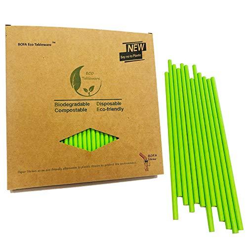 BOFA Grüner Papierstrohhalme, 100 Stück, recycelbar,Lebensmittelecht,Umweltfreundlich,19,7 cm (100 Stück)