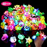 Light Up Rings for Kids Birthday Party Favors LED Flashing Finger Toys Glow in the Dark Party Supplies 48 Pack Bulk Boys Girls Blinking Novelty Cute Gifts Prizes Bumpy Jelly Colorful Rings, Boxed