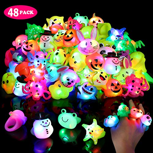 Light Up Rings for Kids Birthday Party Favors LED Flashing Finger Toys Glow in the Dark Party Supplies 48 Pack Bulk Blinking Novelty Cute Gifts Prizes Bumpy Jelly Colorful Rings Boxed